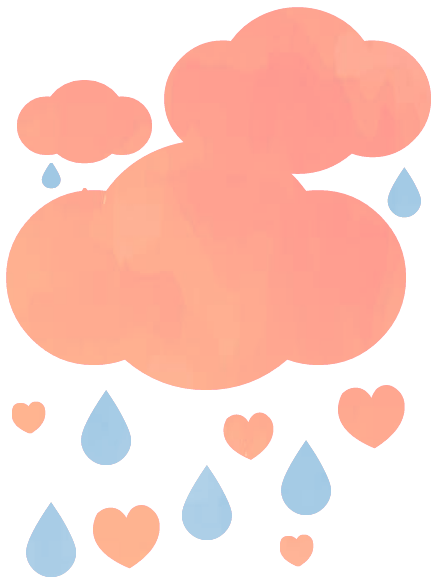 secondary logo, clouds, raindrops, hearts